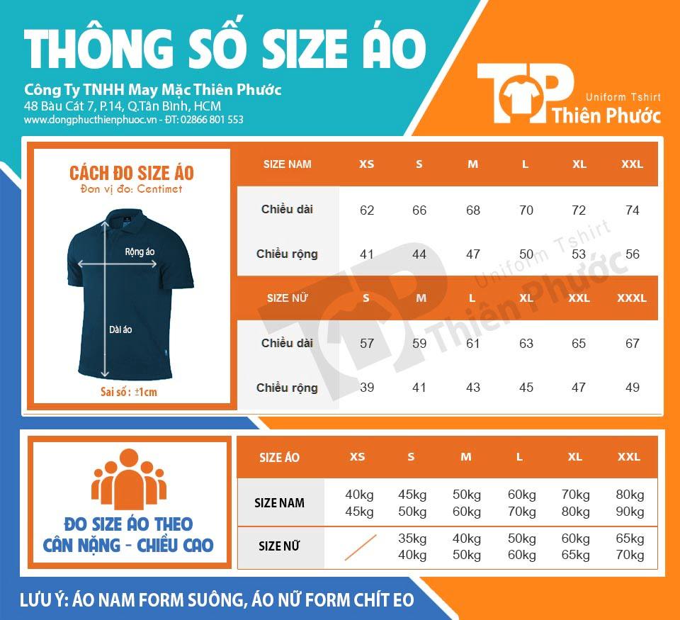 Bảng size áo thun Đồng Phục