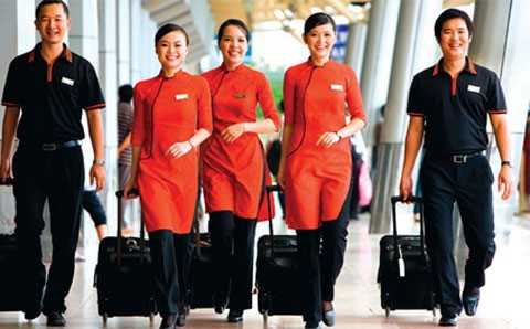 Trang phục thời kì đầu của các nhân viên Jetstar Pacific