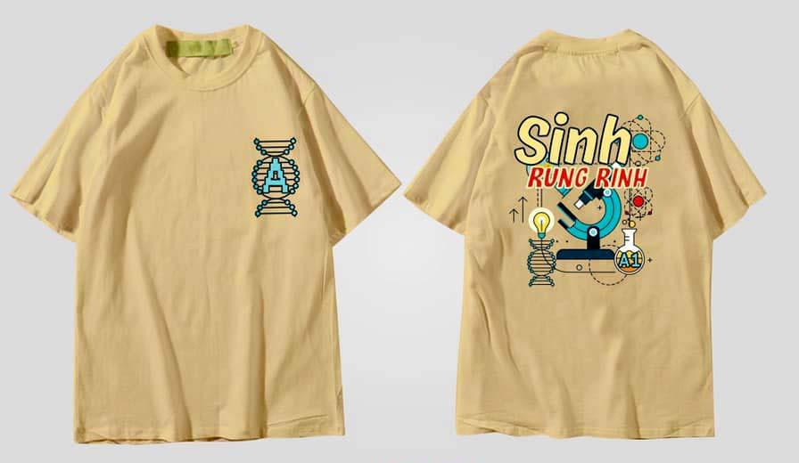 mẫu áo lớp tay lỡ form rộng màu vàng bò