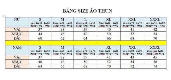 bảng đo size áo thun