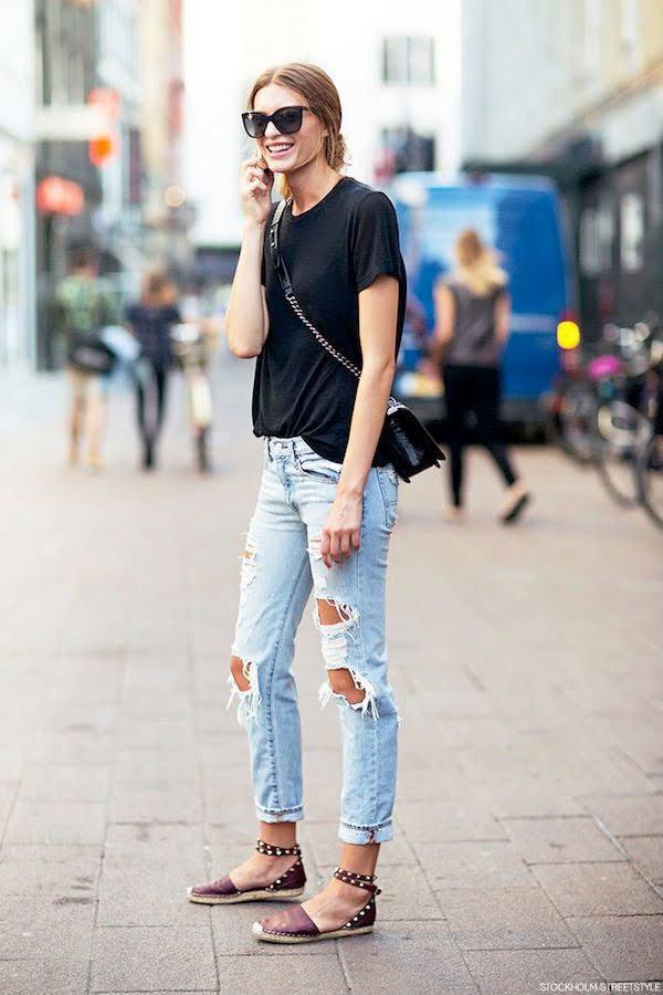 phối với quần jean rách