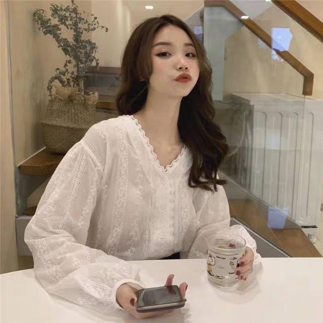 vải ren may áo sơ mi nữ đẹp