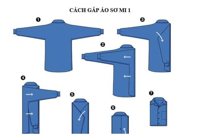 Các bước gấp áo sơ mi đơn giản