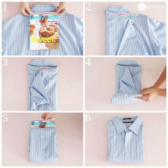 Các bước gấp áo sơ mi đơn giản bằng tạp chí