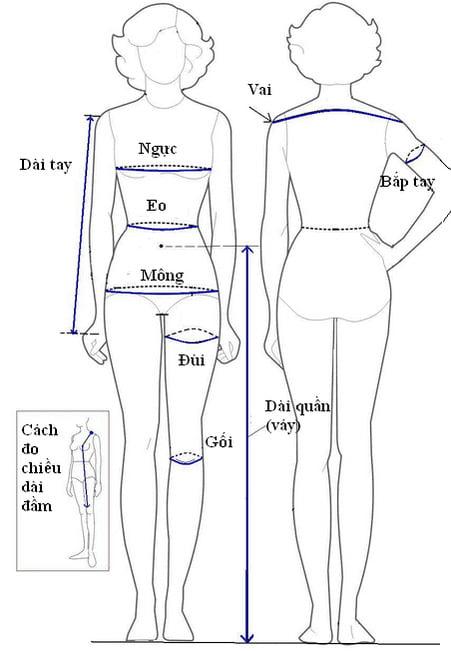 cách lấy số đo quần áo nữ