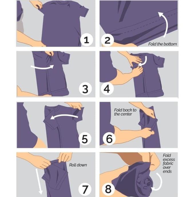 Các bước xếp áo sơ mi tay ngắn
