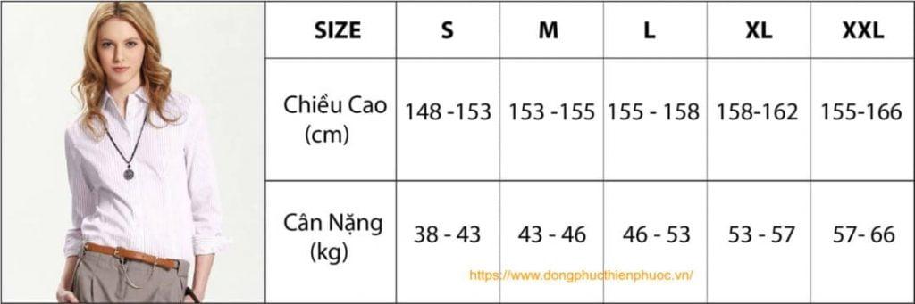 bảng size áo sơ mi nữ theo chiều cao và cân nặng