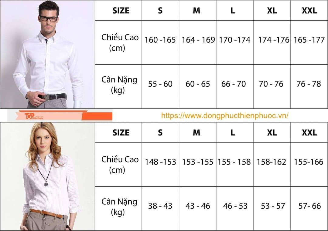 bảng chọn size áo sơ mi theo chiều cao và câ nặng
