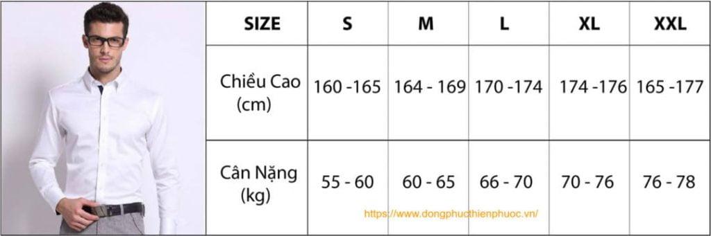 bảng chọn size áo somi nam theo chiều cao và cân nặng