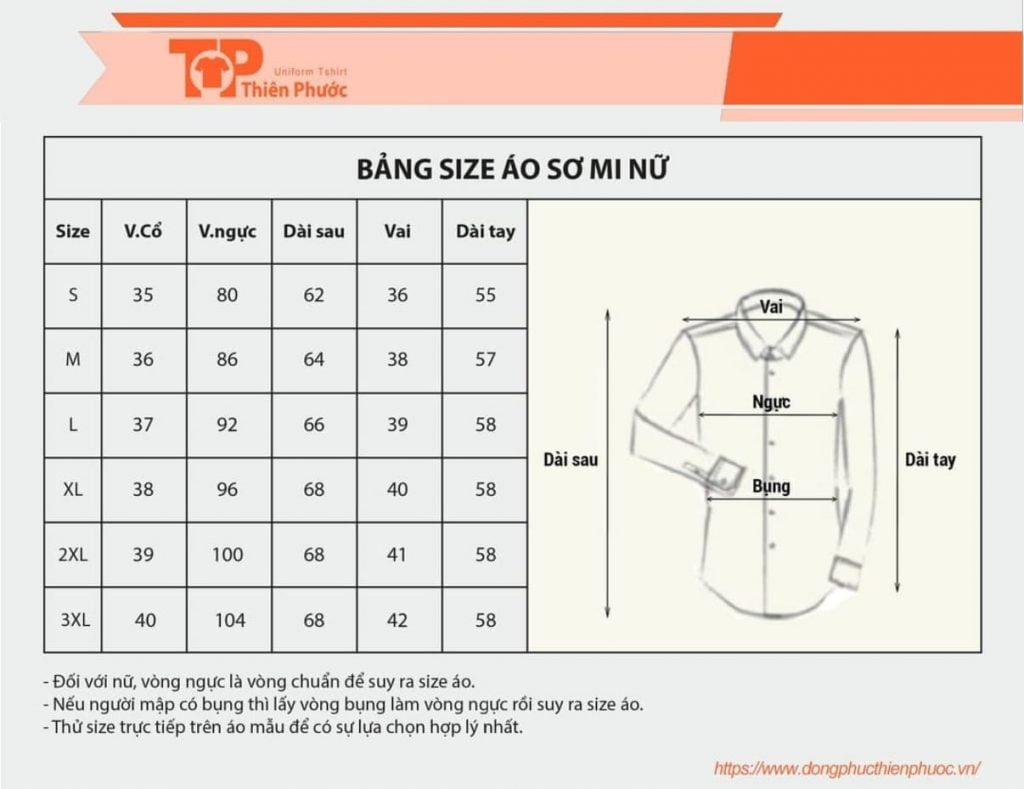 bảng size áo somi nữ theo số đo 3 vòng