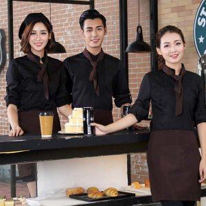 Đồng phục nhân viên quàn cafe phối màu đen