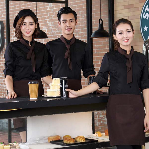 đồng phục quán cafe phối màu đen