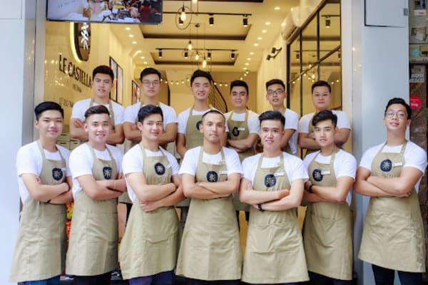 Đồng phục nhân viên quán cafe phối màu trắng