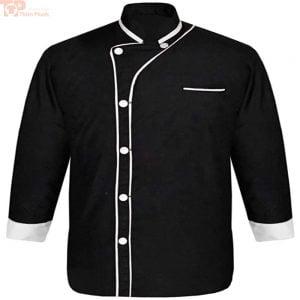 Áo bếp may sẵn tay dài trắng đen