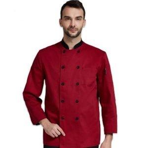 Áo bếp nam dài tay màu đỏ