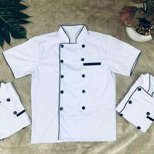 Áo bếp nam kín cổ màu trắng
