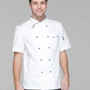 Áo bếp nam tay ngắn màu trắng