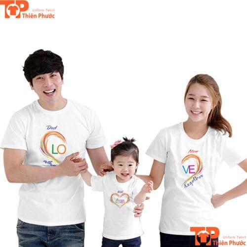 áo cặp gia đình 3 người màu trắng