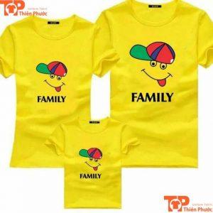 áo cặp gia đình 3 người màu vàng
