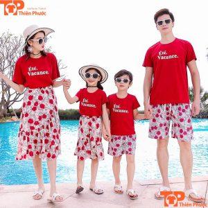 áo cặp gia đình 4 người chất liệu cotton