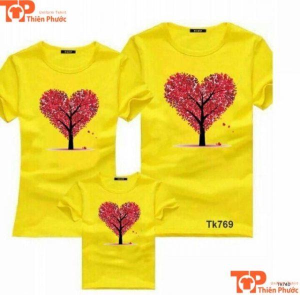 áo đôi gia đình 3 người in họa tiết trái tim