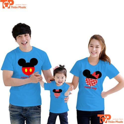 áo đôi gia đình màu xanh da trời
