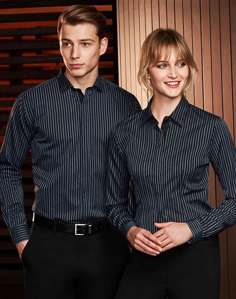 áo sơ mi đồng phục công sở kẻ sọc nam nữ