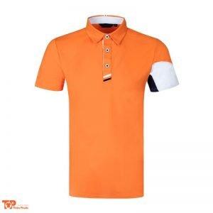 áo đồng phục công ty có cổ màu cam