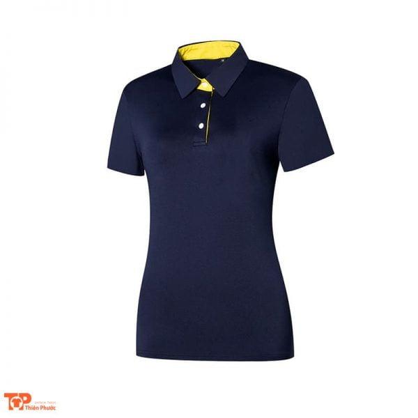 áo đồng phục công ty nữ ngắn tay màu xanh đen