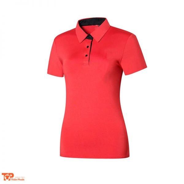 áo đồng phục công ty nữ tay cộc màu đỏ