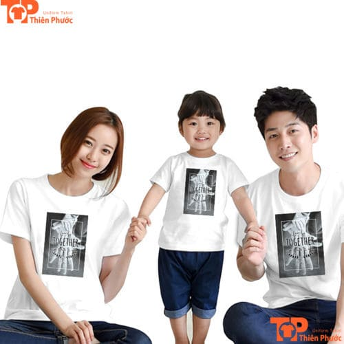 áo đồng phục gia đình 3 người màu trắng