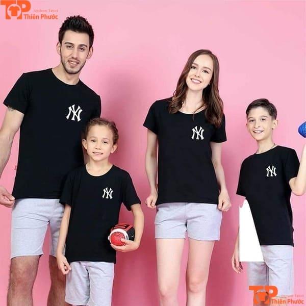 áo đồng phục gia đình 4 người body màu đen