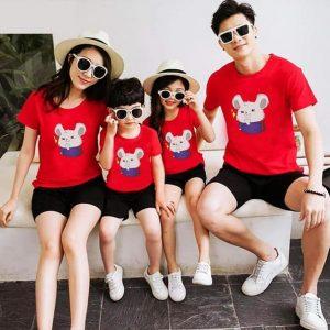 áo đồng phục gia đình 4 người màu đỏ