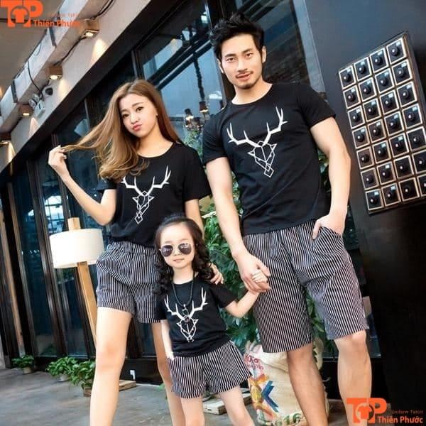 áo đồng phục gia đình body màu đen