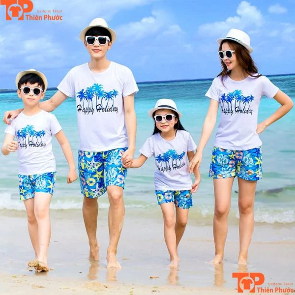 áo đồng phục gia đình đi biển mùa hè