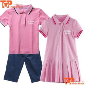áo đồng phục học sinh mầm non cổ trụ màu hồng