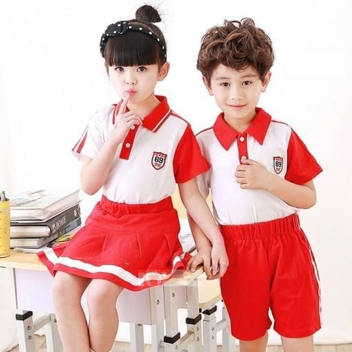 áo đồng phục mầm non đỏ trắng