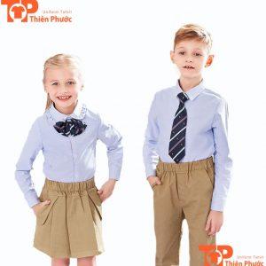 áo đồng phục mầm non kết hợp thắt nơ