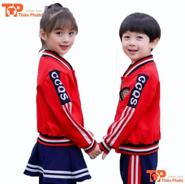 áo đồng phục mầm non tay dài màu đỏ