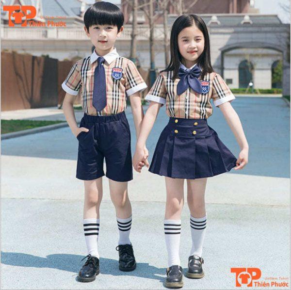 áo đồng phục mầm non tay ngắn sọc caro