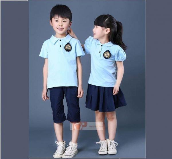 áo đồng phục mầm non xanh lam