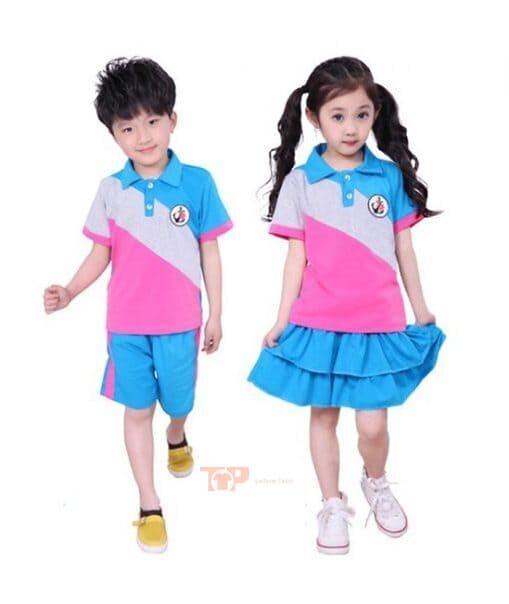 áo đồng phục mầm non xanh hồng