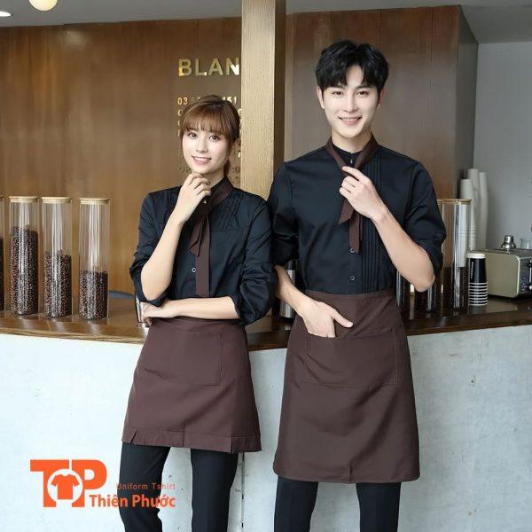 áo đồng phục quán cafe phối tạp dề