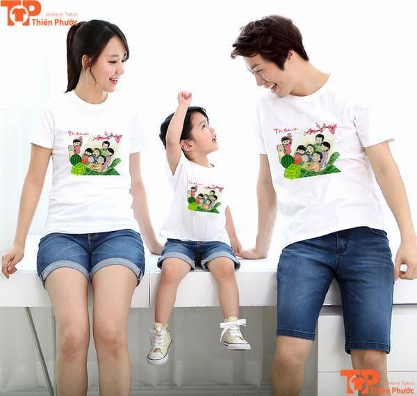 áo gia đình 3 người cổ tròn màu trắng