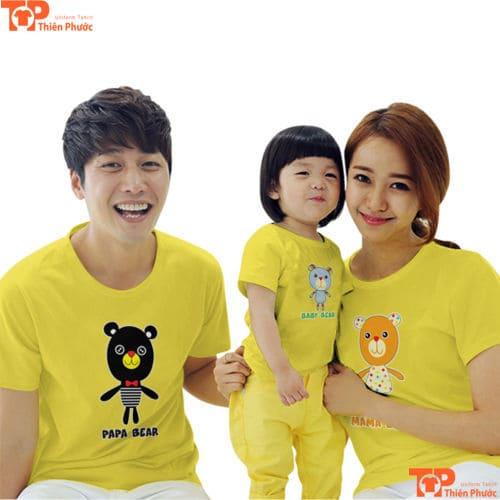 áo gia đình 3 người cổ tròn