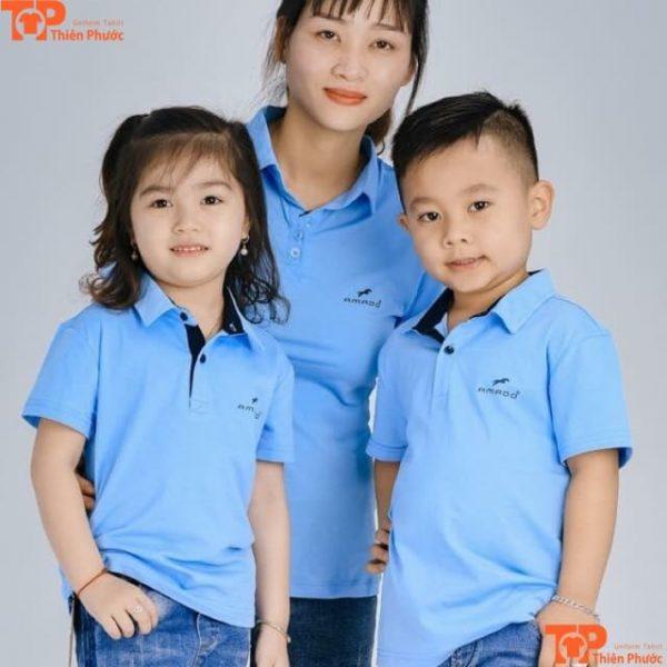 áo gia đình 3 người cổ trụ tay ngắn