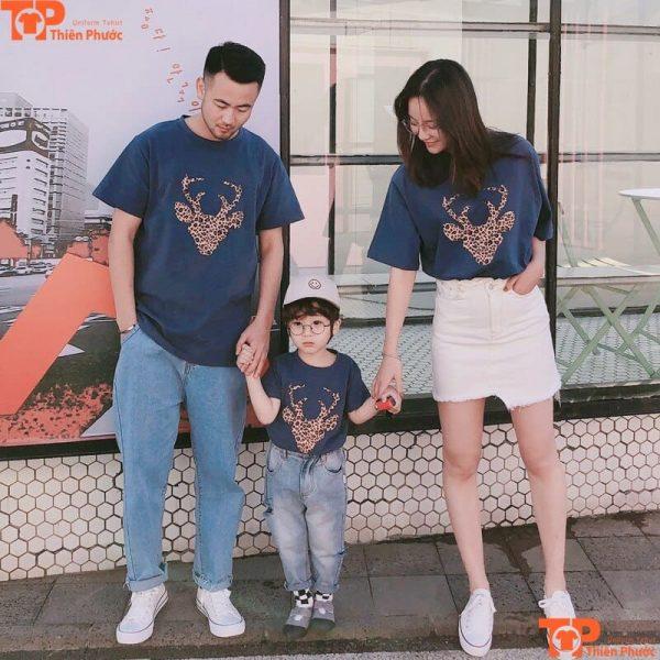 áo gia đình 3 người in nhiều họa tiết
