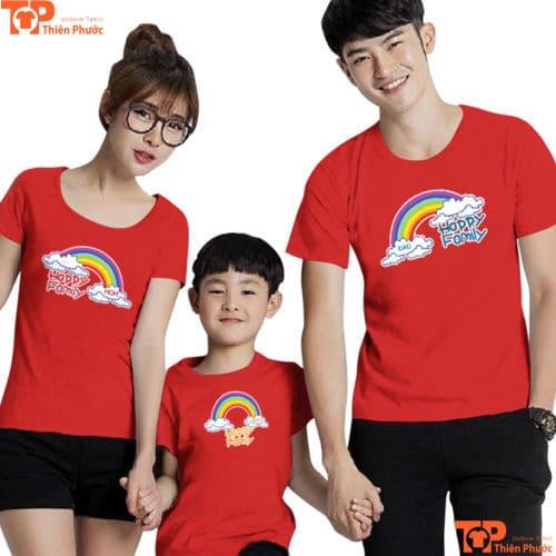 áo gia đình 3 người màu đỏ
