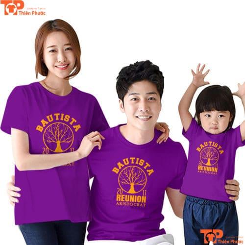 áo gia đình 3 người màu tím