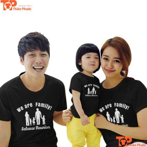 áo gia đình 3 người tay ngắn màu đen